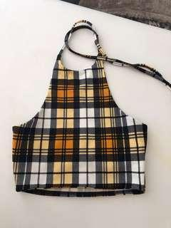 Plaid crop halter