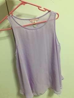 Sheer lavender purple singlet flowery top