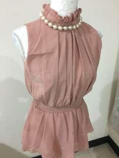 CNY Further Markdown* Pink Top with Pearl