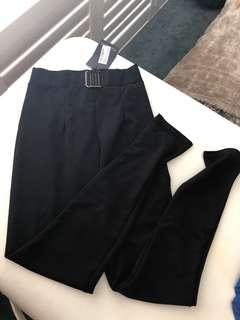 Black belt detail fitted trousers