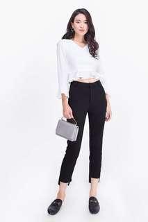 Fayth Marci Ruffle Crop Top in White - Size XS