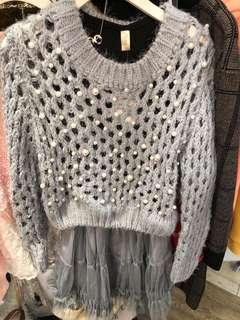 女裝珍珠洞洞針織衫連紗裙
