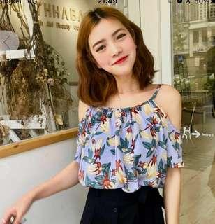 Floral Cold Shoulder Top / Blouse