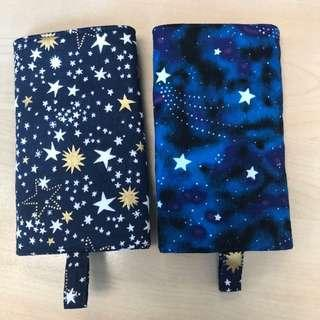 HANDMADE GLOW IN THE DARK Reversible Drool Pads shooting stars and shimmering stars blue base 2 designs for the price of 1