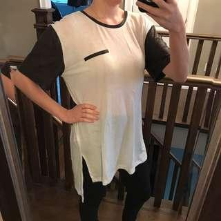Tunic Tee w/ Leather Look Sleeves (S)