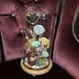 Preserved Flowers in jar with LED light