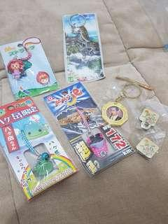 Assorted keychain and pin