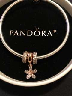Pandora Bangle w/ rose gold clasp