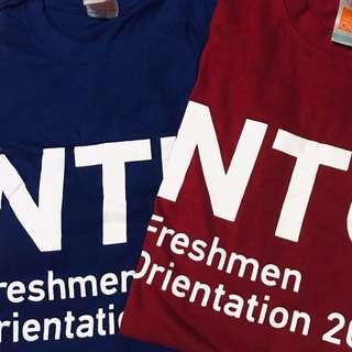 ntu shirts in blue and red