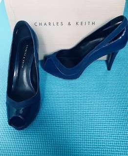 ❗️60% OFF!!! BRAND NEW Charles & Keith Peep Toe Platform Shoes (Blue)