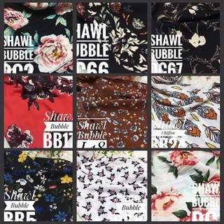 Instock printed bubble chiffon shawls hijab 3for$20