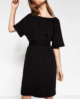 Zara black dress with tie-waist