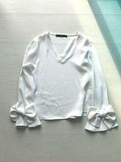 Zara V-Neck White Blouse