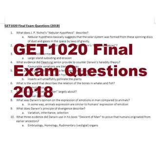 GET1020 Darwin Final Exam Questions (2018). #NUSFREEPIZZA