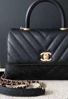 LNIB Chanel Coco Handle mini Black GHW