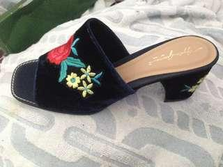 Apple Green Navy Chunk Heels / Wedges / Party Shoes / Sepatu