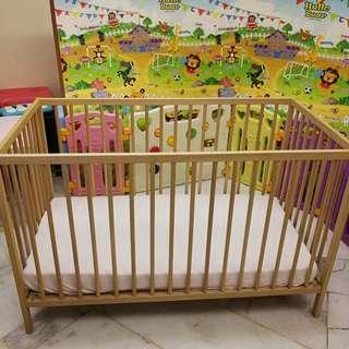 [USED] IKEA SNIGLAR Height Adjustable Baby Cot & IKEA VYSSA VINKA Mattress (with Bonell spring) + Freebies