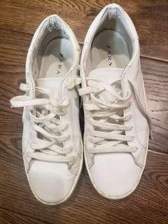 Zara white sneakers 7.5 size
