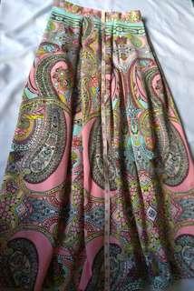 Neoprene printed maxi skirt