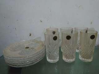 D'Arques Crystal Glass and Plate Set