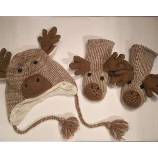 Reindeer Hat and Mittens (Fleece-Lined Wool) - Barely Used