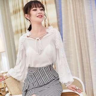 white blouse with checkered skirt