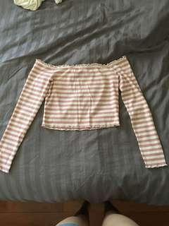 BNWT Bardot Pink Striped Off The Shoulder Top