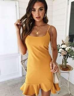 Frill Dress (Mustard/Lemon/Yellow)