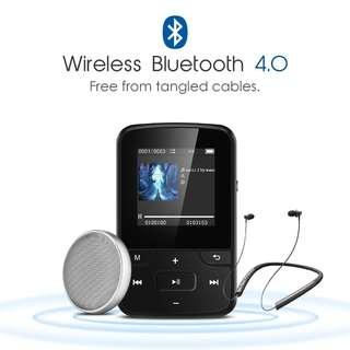 (BNIB) AGPTEK G6 8GB Portable Clip MP3 Player with Bluetooth & FM Radio - Black (Brand New Boxed)