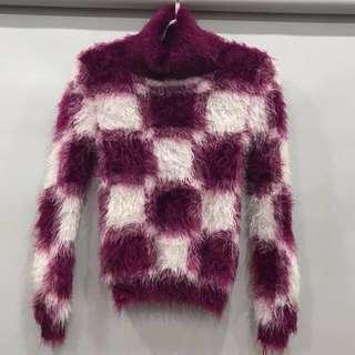 🚚 浪漫紫格子毛衣#一百均價