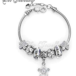 NEW ! Enchanted Flower Charm Bracelet / Gelang Crystals From Swarovski