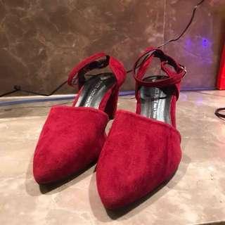 腳踝繫帶絨面7cm低跟鞋