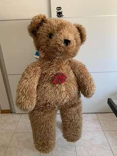 BIG SOFT TOY PLUSH BROWN BEAR PLUSHIE WITH RED BOW TIE CUTE