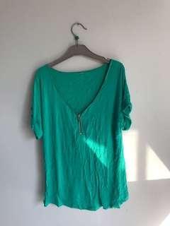 Green zip up top
