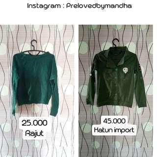 Turun harga preloved kemeja army / sweater