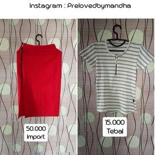Turun harga preloved blouse / skirt