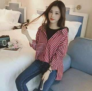 [ PO ] ulzzang maroon fake two piece top