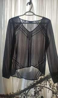 Guess black sheer top with lace detail.