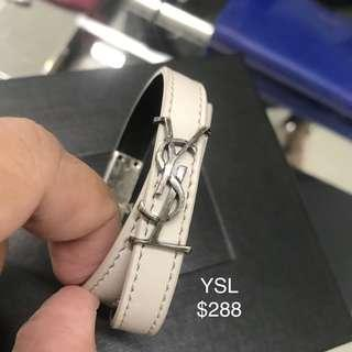 YSL White Leather Double Tour Bracelet Size S 100% AUTHENTIC+BRAND NEW! #483215