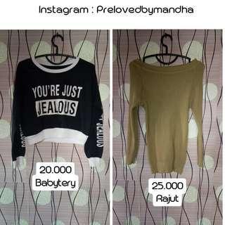 Turun harga preloved blouse rajut / sweater