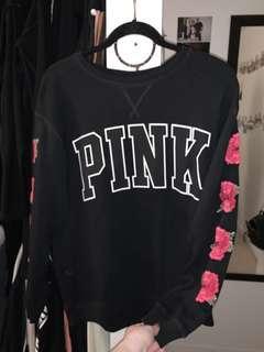 PINK Rose Sleeve Sweatshirt