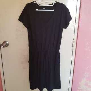 Uniqlo Black Dress with Pockets For Sale