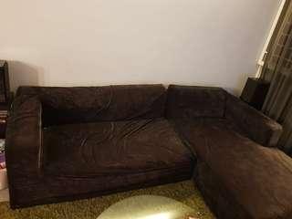 L shaped black sofa