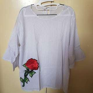 White Striped Top with flute sleeves and floral embroidered design For Sale
