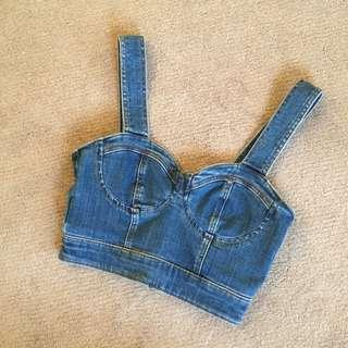 🌟Cropped denim bustier top