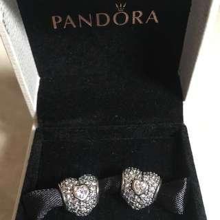 New AUTHENTIC Pandora PAIR Pavè Triple Heart CLEAR Charm 791168CZ