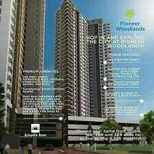 PRE SELLING 11K MO. - STUDIO 22.32SQM RENT TO OWN CONDO PIONEER WOODLANDS STARTS AT  MO. NEAR BONI AVE, PIONEER ST, BARANGKA, JRU, GUADALUPE, MANDALUYONG, SHAW BOULEVARD, GREENFIELD DISTRICT,
