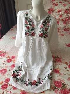 White brodir dress