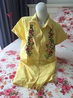Yellow bordir mini dress