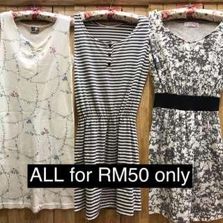 Preloved 3 pcs of Ladies dress ALL to let go RM50 only